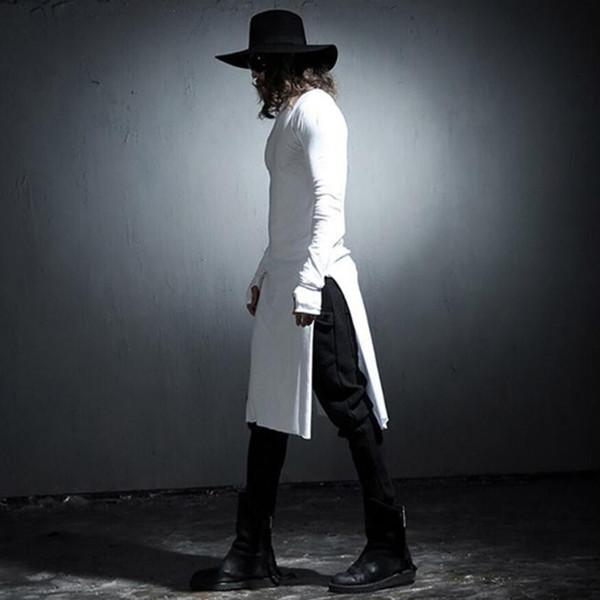 Homens de moda de manga longa hip hop estendido t camisa longline streetwear personalidade dos homens harajuku roupas traje de t-shirt