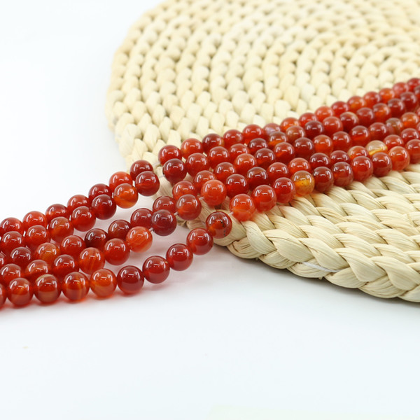 Red Stripe Agate Natural Gemstone Loose Beads 4/6/8/10mm Round Crystal Energy Stone for Jewelry Making Full Strand 15'' L0098#