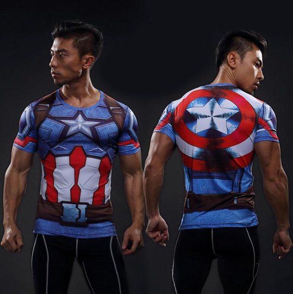 Short-sleeved sports tights men fitness Breathable quick-drying wet clothes summer high elastic 3D color printing super hero shirt T-shirt
