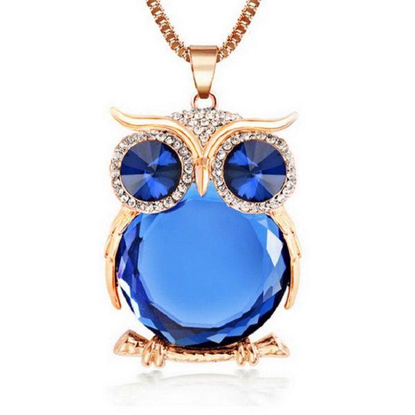 2017 Nouvelle Déclaration De Mode Owl Cristal Colliers Pendentifs Pour Femmes Comme Un Cadeau, Or Argent Chaîne Longue Bijoux, collier femme