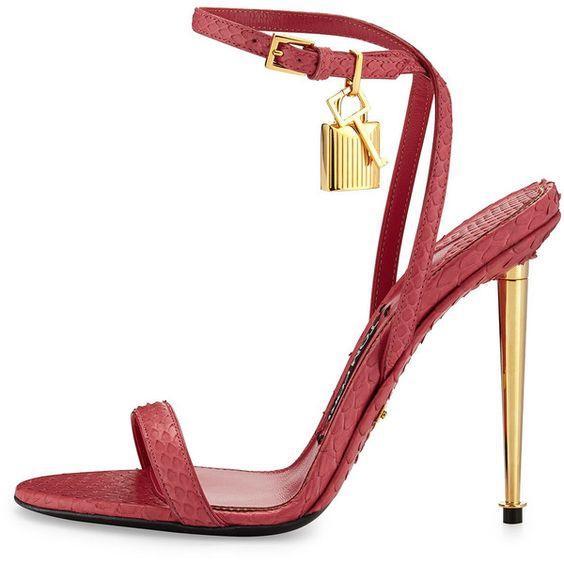 2017 nouveau style marque femmes sandales célébrité Métallique Cheville-Serrure Sandale or talon aiguille chaussures cadenas talons hauts Sandales taille 34--42