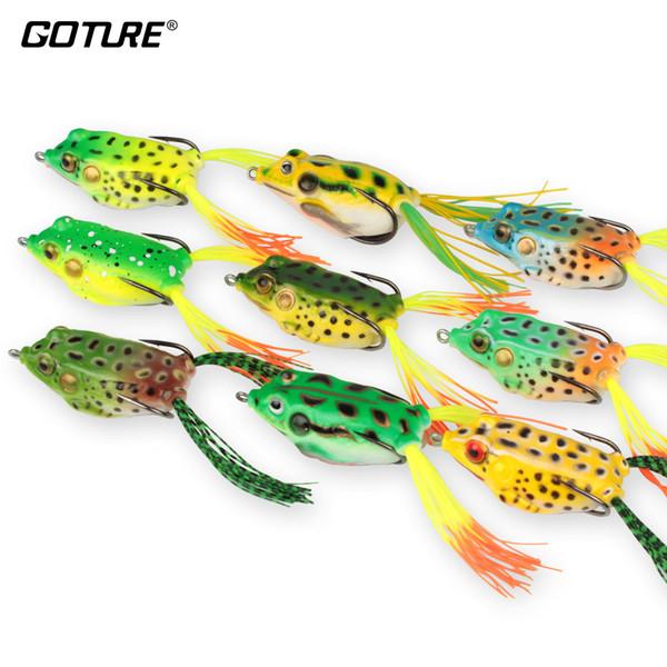 Goture 9Pcs / Lot señuelo atractivo de la rana artificial del señuelo de la pesca 5.45Cm /12.3G Cebo de pesca de Crankbait Topwater con los ganchos agudos para la pesca