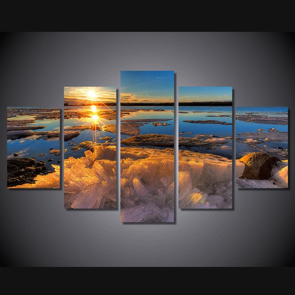 5 Pcs/Set Framed HD Printed Iceberg Sunset Lake Wall Art Canvas Print Poster Canvas Pictures Landscape Oil Painting Artworks