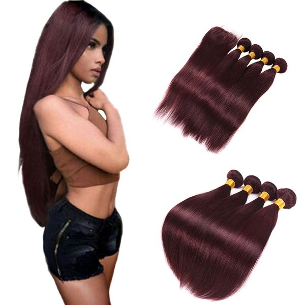 Dark wine red brazilian straight hair weave tissage brésilien rouge straight brazilian hair with closure 99j burgundy brazilian hair
