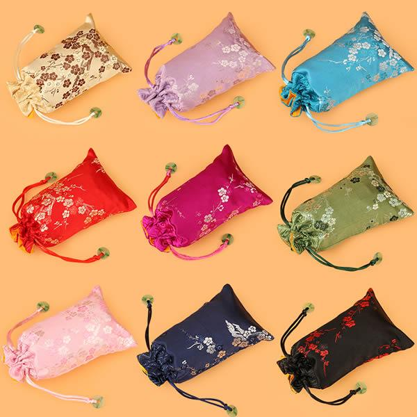 Jewelry Drawstring Bags, with flower pattern, beautiful cell phone bag,mix color,size :9*15cm, sold per bag of 20 pcs