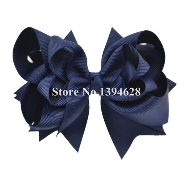 Wholesale- $1/1PCS 5 inches 3 Layers Solid Navy Baby Bows With 6cm Clips Boutique Ribbon Bows For Girls Hair Accessories