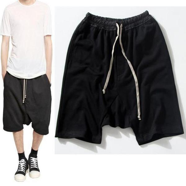 Wholesale-Highstreet Summer Mens Drop Crotch Shorts Baggy Loose Drawstring Hip Hop Black Urban Clothes Joggers Harem Shorts For Male