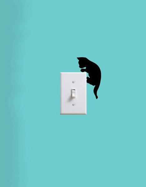 Little cat climbs on the switch laptop cup book family Wall stickers decoration decor home decals fashion waterproof bedroom living sofa