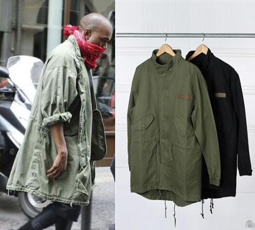 Hot Sale New Men's Hop Hop Jacket Overcoat Windbreaker Kanye West Black/Green Long Military Style European Trench Coat Men