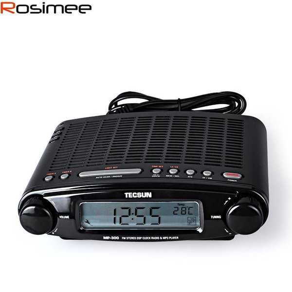 Wholesale-Tecsun Radio MP-300 DSP FM Stereo USB MP3 Player Desktop Clock ATS Alarm Black FM Portable Radio Receiver Y4137A Tecsun MP300