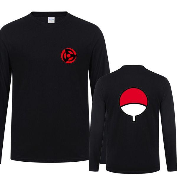 Wholesale- Anime Naruto T Shirts Men Uchiha Clan T Shirt Long Sleeve Cotton Uzumaki Naruto T-shirt Tops Free Shipping