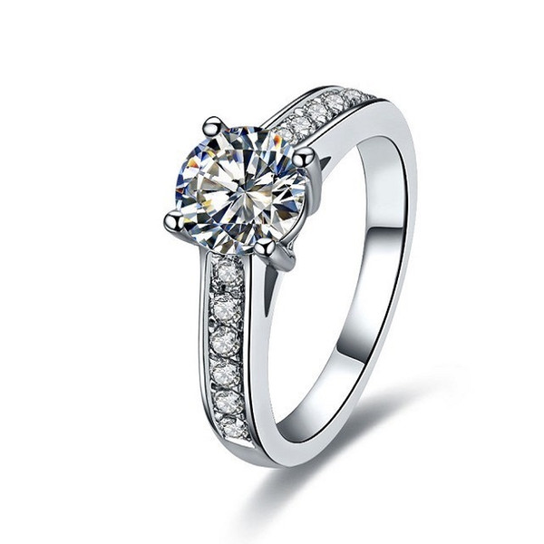 Sterling Silver 1CT Brand Engagement Ring for Women NSCD Simulated Diamond 4 Prongs Setting 18K White Gold Plated Anniversary Rings Female Gift
