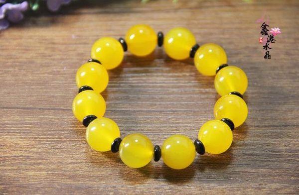 Natural fine 5A grade yellow agate bracelet jade chalcedony beads beaded bracelet jade souvenirs