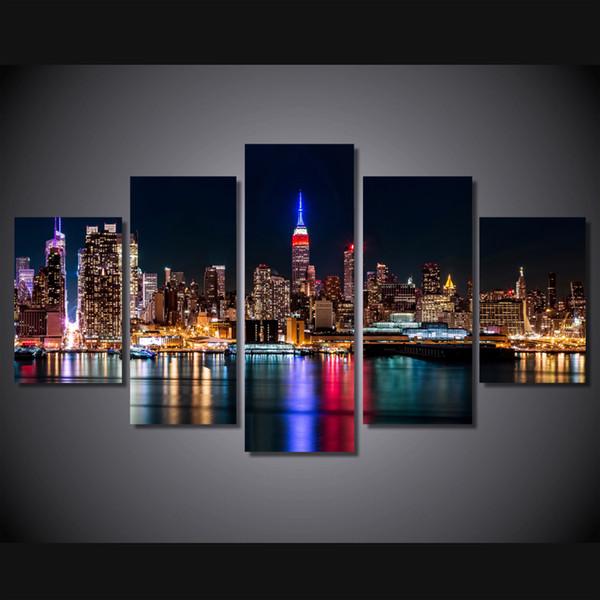 5 Pcs/Set Framed HD Printed Brooklyn Manhattan New York Wall Art Picture Canvas Print Decor Poster Modern Canvas Oil Painting