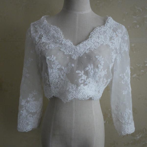 Best Quality Bridal Jacket Lace Bolero 3/4 Sleeves V Neck Wedding Jacket 2017 Cheap Bridal Wraps Formal Zipper Back Real Photo