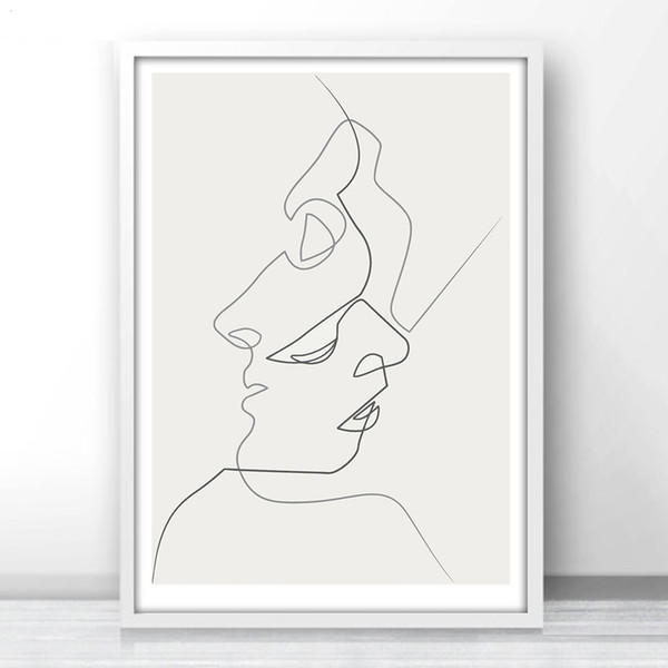 2019 Fuee Shipping Kiss One Line Drawing Face Sketches Minimalist Art Canvas Poster Painting Black White Abstract Picture Print Modern Home Dec From