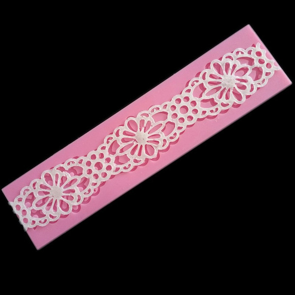The silicone lace liquid state chocolate mould Handmade fondant cake decorating DIY mold Pink color food grade silicone baking tools
