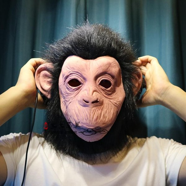 Latex Animal Chimp head Mask Monkey Fancy Dress Lazy Bruno Mars Song Chimpanzee Cosplay Mask Costume Theater Prop Halloween