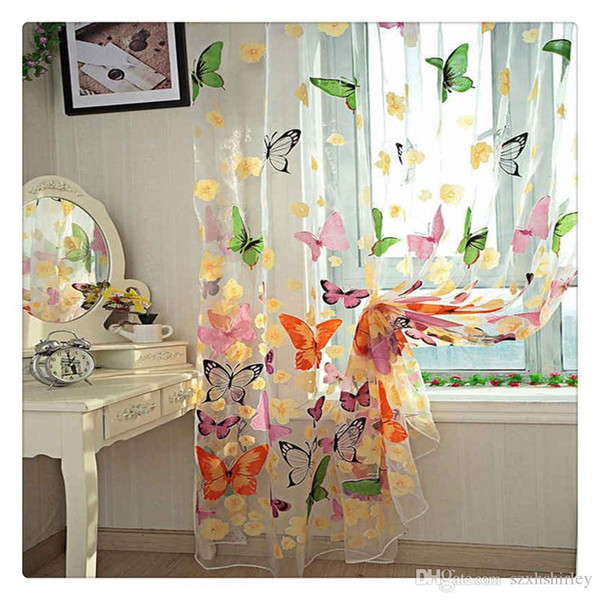 2016 Hot selling!!200cm x 100 cm Butterfly Print Sheer Window Panel Curtains Tulle Panel Sheer Curtains Room Divider New For Living Bed room