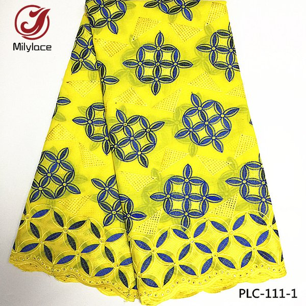 top popular 2017 Newest arrival african swiss cotton embroidery lace fabric rhinestones nigerian swiss lace fabric PLC-111 2019