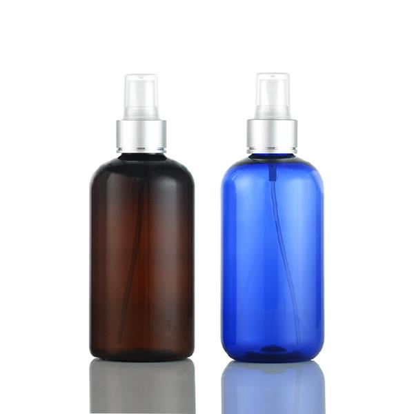20X250mL vide collier en argent vaporisateur parfum bouteille bleue marron, haute qualité eau florale parfum vide bouteilles en plastique pulvérisateur pompe cosmétiques