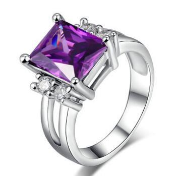 Men Woman High quality purple zircon 14K platinum engagement ring