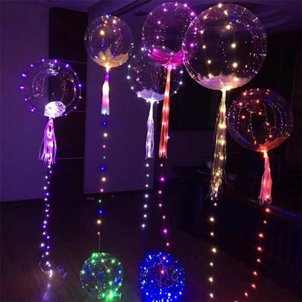 best selling (after put in Helium about 18-20inch ) Luminous Led Balloon Colorful Transparent Round Bubble Wedding Balloons Lighting more colors