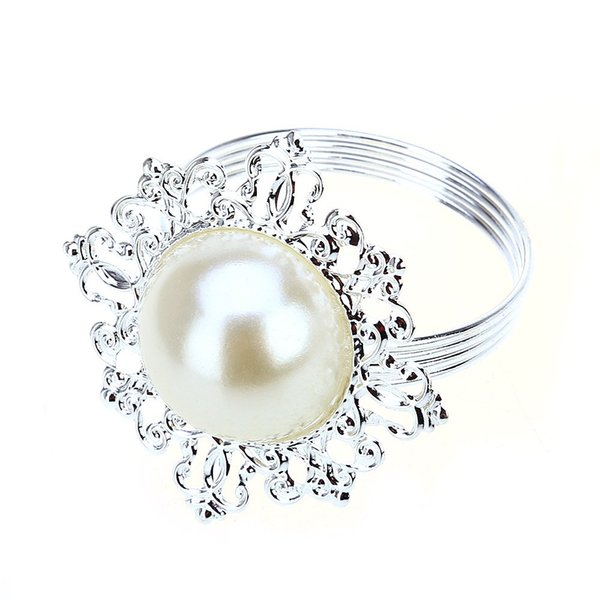 Wholesale- 12pcs Artificial Pearl Napkin Rings Serviette Table Holder Wedding And Hotel Supplies Decoration With Gorgeous Flower Patterns