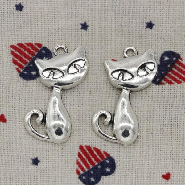 30pcs Charms cat fox 39*32mm Antique Silver Pendant Zinc Alloy Jewelry DIY Hand Made Bracelet Necklace Fitting