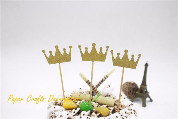 Atacado-3pcs / lot 2.5 * 4cm Glitter Gold Birthday Crown Bolo Topper Kit 1º Aniversário Kids Cake Decoração Party Supplies
