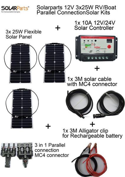 Solarparts 3pcsx25W DIY RV/Boat Kits Solar System flexible solar panel1x 10A solar controller 1 set 3M MC4 cable 1 set clip