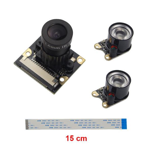 Freeshipping Raspberry Pi 3 Camera Camera(F) Focal Adjustable Module Night Vision +2pcs IR Sensor LED Light +15cm FFC Support Raspberry Pi 2
