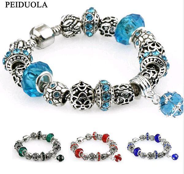 3pcs bijoux accessoires cristal européen et américain grand trou perles charme Bracelet pour femmes ornements à la main quatre couleurs
