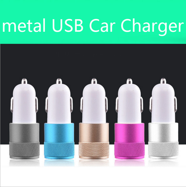 top popular Best Metal Dual USB Port Car Charger Universal 12 Volt   1 ~ 2 Amp for Apple iPhone iPad iPod   Samsung Galaxy   Motorola Droid Nokia Htc 2019