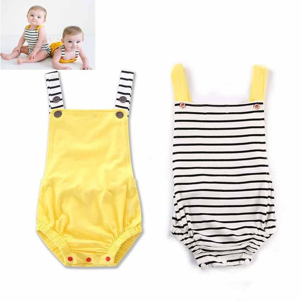 New Baby Overalls Onesies Rompers Summer Infants Toddlers Cotton Striped Backless Triangles Jumpsuits Babies Slip Rompers Overalls For 0-2T