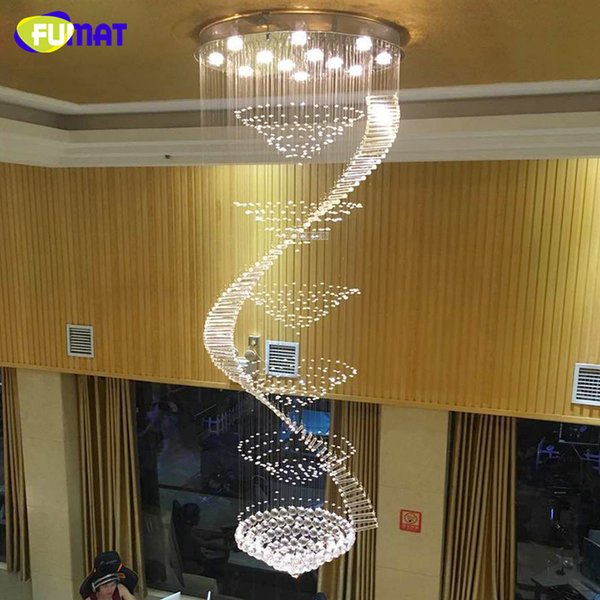 Araña moderna LED K9 Lámparas de cristal Lámpara colgante larga Lustres De Cristal Lámpara de araña espiral Kronleuchter