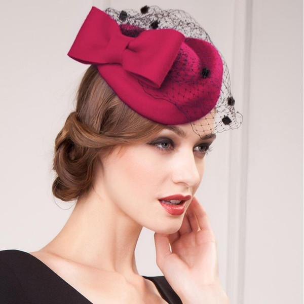 best selling Christmas Kate Middleton Hat Prom Cocktail Evening Hats Wool High Quality Crepe Burgundy Special Occasion Hats Bridal Hat