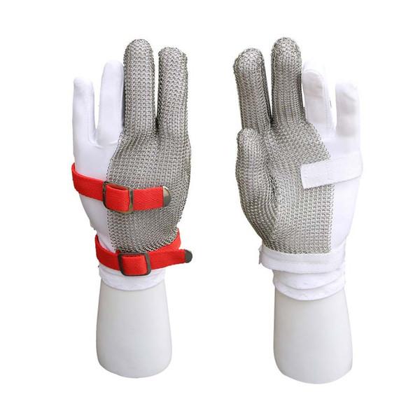 1 ADET Üç parmak naylon bileklik eldiven kesme eldiven paslanmaz çelik hasır metal net kasap anti-kesme istiridye eldiven çalışma emniyet eldiven