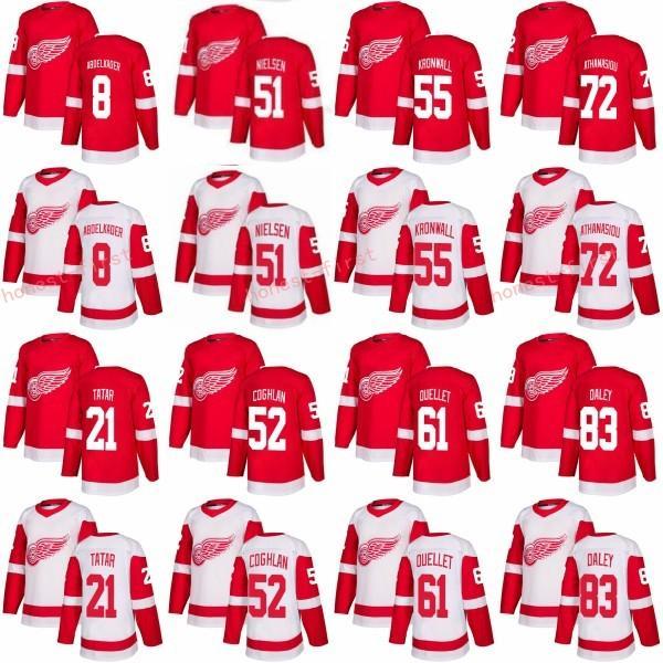 2018 Nouveau 83 Trevor Daley Chandail Red Wings de Detroit 55 Niklas Kronwall 52 Jonathan Ericsson 72 Andreas Athanasiou 61 Xavier Ouellet Rouge Blanc