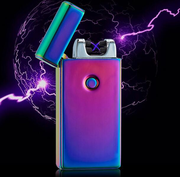 best selling High Quality Electronic Lighter DUAL Arc Windproof Ultra-thin Metal Pulse USB Rechargeable Flameless Electric Arc Cigar Cigarette Lighter