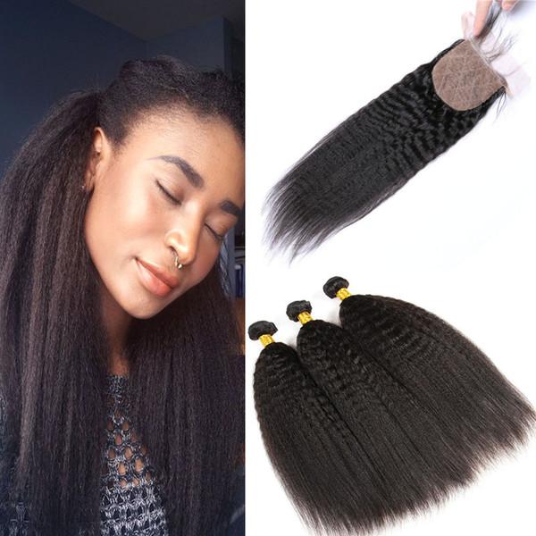 Kinky Straight Human Hair Extensions 3 Bundles With Silk Base Closure Unprocessed Brazilian Peruvian Indian Malaysian Virgin Hair Weaves