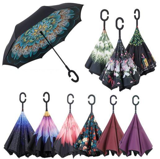 cariel Inverted Umbrella Double Layer Reverse Rainy Sunny Umbrella with C Handle J Handle Self Standing Inside Out Special Design h111B