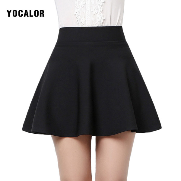 18c239589 Wholesale- Autumn Winter Korean Short High Waist Sexy Mini Black Flared  Micro School Girl Ruffle A-line Skirt Female Skirts Womens