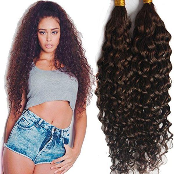 best selling ELIBESS-Virgin Human Hair Bulk Dark Brown #2 Deep Curly Bulk Hair Weaving For Braiding Unprocessed No Weft Human Hair 100g one piece