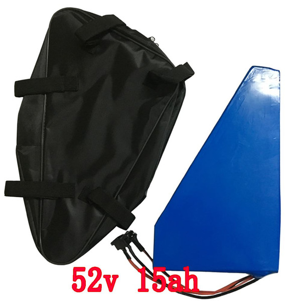 750W 52V Triangle battery 51.8V 15AH 14S Electric Bike Battery 52V 15AH Lithium ion battery With 15A BMS 58.8V 2A charger