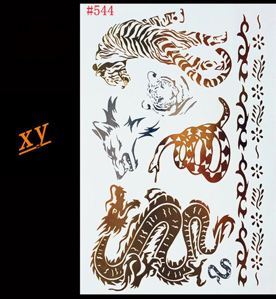 Wholesale- Indian Arabic designs golden silver flash tribal henna tattoo paste metalicos metal tatoo sticker sheets on body hand