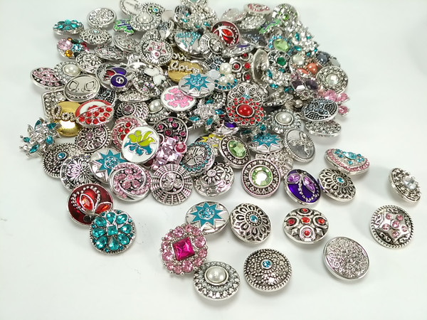Wholesale 50pcs/Lot Mixed Style 18mm Snap Button Metral Rhinestone Ginger Snap Jewelry Sanps Chunk Button For Noosa Snaps Charm Bracelets
