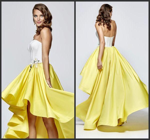 Yellow dress high low