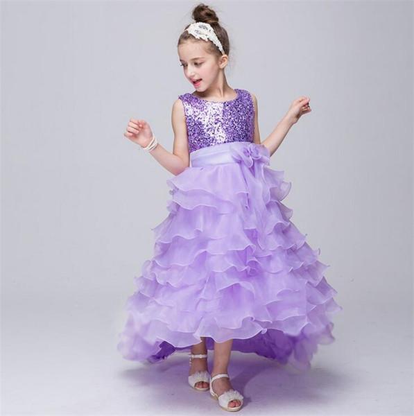2016 Flower Girl Dresses Princess glitz cupcake pageant dress Tulle High Neck Ball Gown SequinsTiered Custom Kids Wedding Party Dresses12