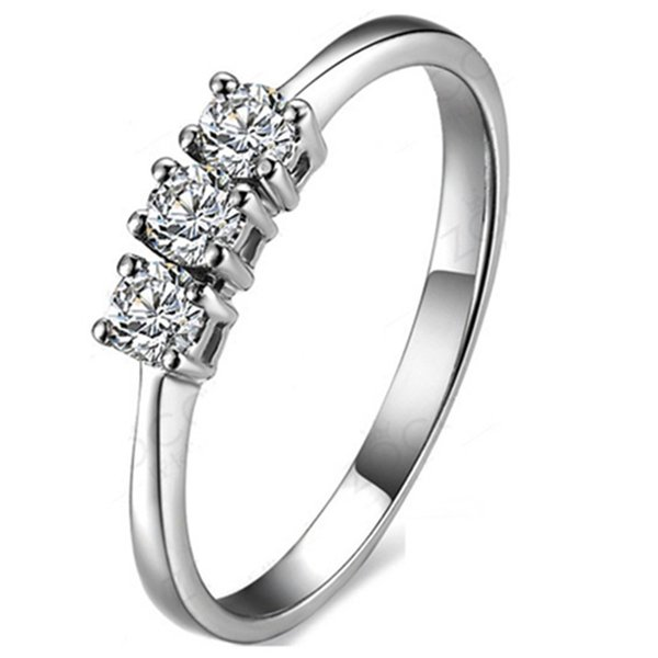 0.3CT Three Stones Synthetic Diamond Female Engagement Ring Solid 925 Sterling Silver Girl Love Best Fine Wedding Anniversary Day Gift